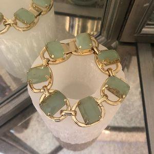 Express Gold w/ light green-blue stone Bracelet